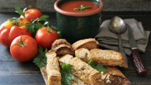 Roasted Tomato Soup with Four Cheese Toast Soldiers